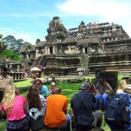 Students at Angkor Wat in Cambodia